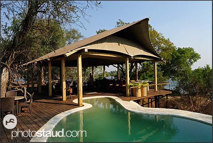 Swimming pool in Toka Leya Camp, Wilderness Safaris, Mosi-oa-Tunya Park, Zambia