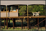 Toka Leya Camp built on raised platform, Mosi-oa-Tunya National Park, Zambia