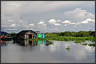 Shabby buildings on the bank of Tonle Sap Lake, Cambodia