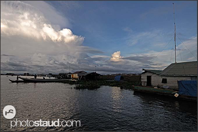 Chong Kneas floating village on Tonle Sap Lake, Cambodia