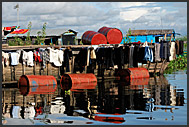 Architecture of a floating village on Tonle Sap Lake, Cambodia