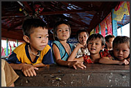 Children in the school of a floating village, Tonle Sap Lake, Cambodia
