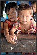 Children in the school of Chong Kneas floating village, Tonle Sap Lake, Cambodia