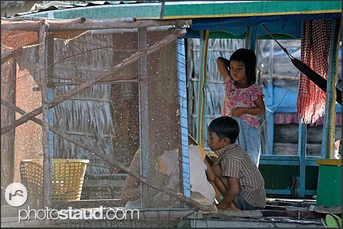 People of Chong Kneas floating village, Tonle Sap Lake, Cambodia