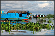 Houseboats in floating village of Tonle Sap Lake, Cambodia