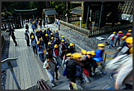Japanese schoolchildren flooding Toshogu Shrine, Nikko, Japan