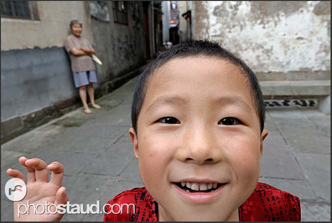 Little Chinese boy playing in Tunxi, Huangshan city, Anhui, China