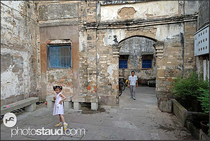 Chinese children playing in old streets of Tunxi, Huangshan city, Anhui, China