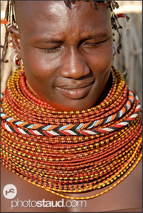Turkana girl with genuine tribal bead necklaces, Northern Kenya