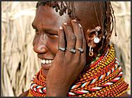 Turkana girl with traditional tribal bead ornaments, Northern Kenya