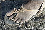 Detail of foot with tire-sandal, Turkana, Northern Kenya