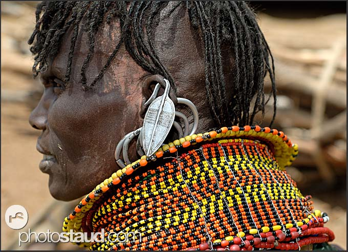 Close up of Turkana woman wearing typical tribal hair style and bead ornaments, Northern Kenya