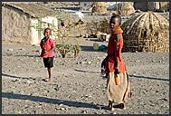Typical huts of Turkana village near Loyangalani, Northern Kenya