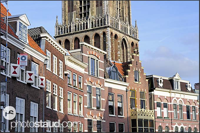 Houses and Dom tower in Utrecht, The Netherlands, Europe