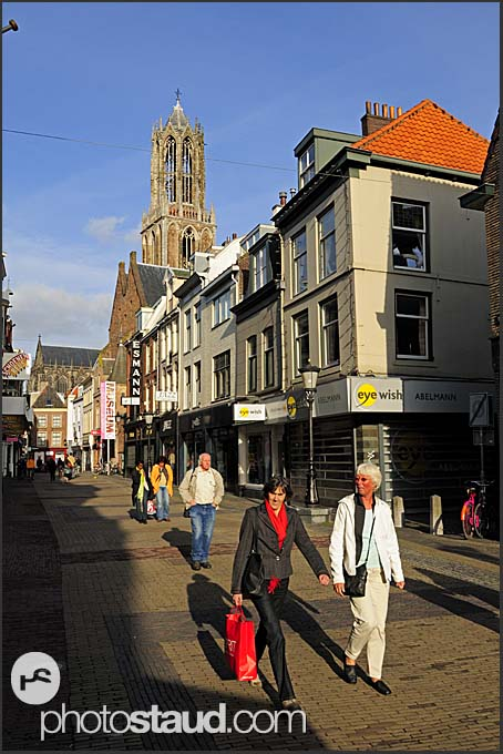 People walking  in the narrow streets of Utrecht, The Netherlands, Europe