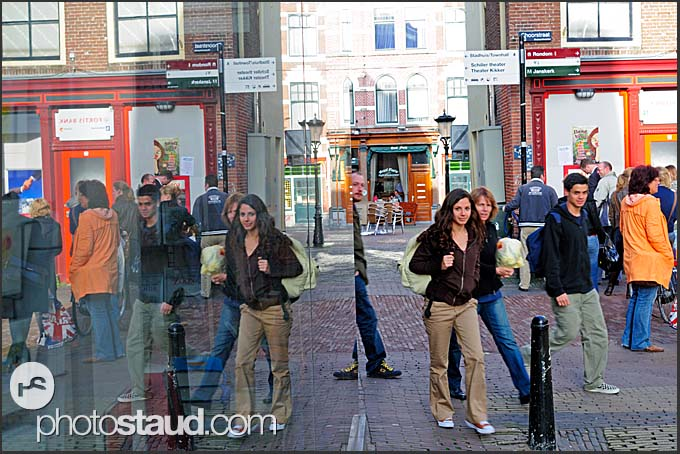 People reflected in shopping window, Utrecht, The Netherlands, Europe