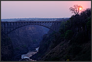 Victoria Falls bridge above the Zambezi River at sunset, Zambia