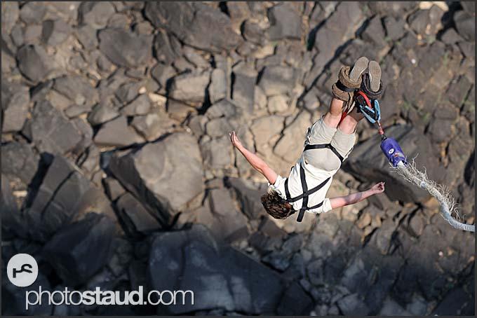 Bungee jumping at Victoria Falls, Zambia
