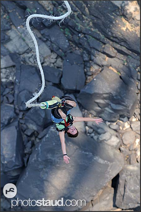Bungee jumping off Victoria Falls bridge, Zambia