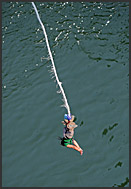Bungee jumping off Victoria Falls bridge, Zambia