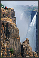 Sharp cliffs of Victoria Falls, Zambia