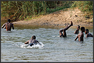 Zambian children playing in Zambezi River atop Victoria Falls, Zambia