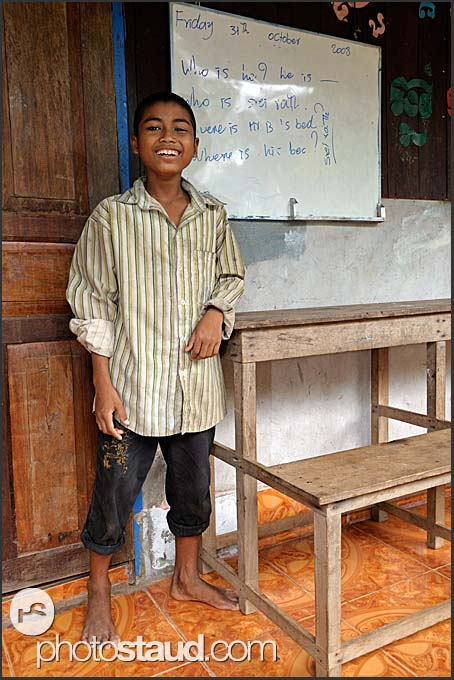 Cambodian boy at village school, Cambodia