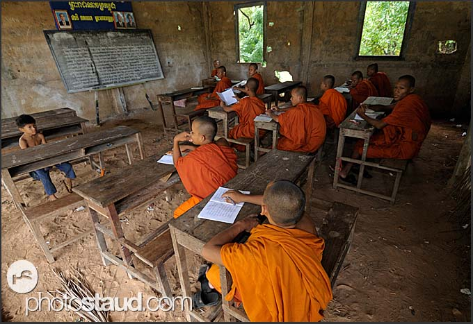 In a school for Buddhist monks, Bakong Temple, Angkor, Cambodia