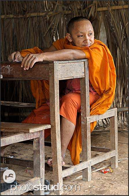 Buddhist monk trainee at school, Bakong Temple, Angkor, Cambodia