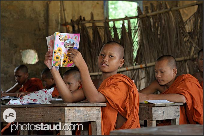 Novice Buddhist monks in Bakong Temple school, Angkor, Cambodia