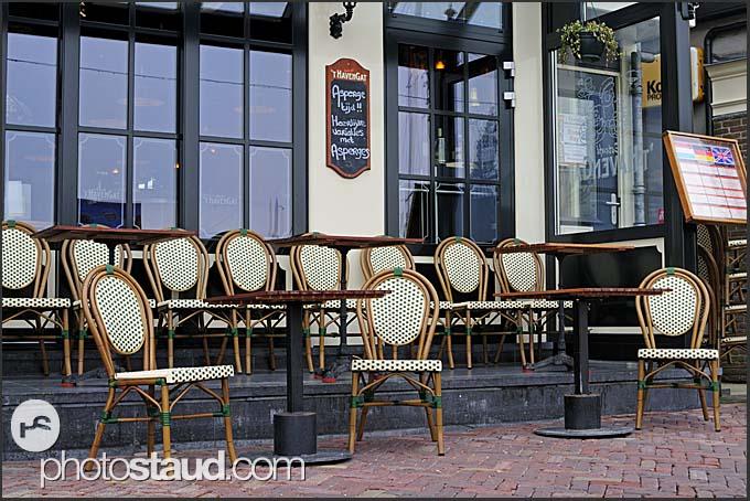 Empty chairs in Volendam restaurant, Holland, Europe