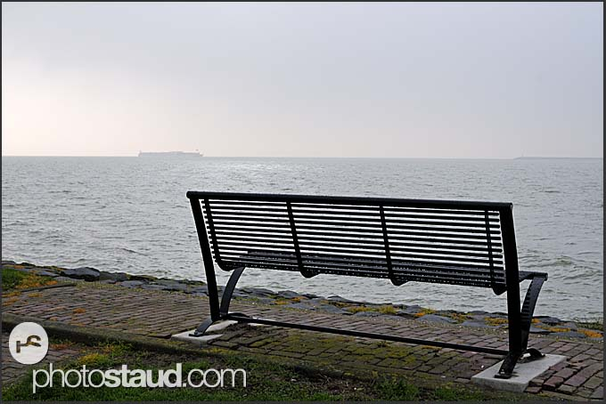 Empty bench on the seaside, Volendam, Holland, Europe