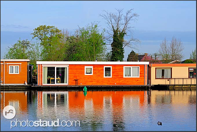 Modern houseboats at Vecht river, Vreeland, The Netherlands, Europe