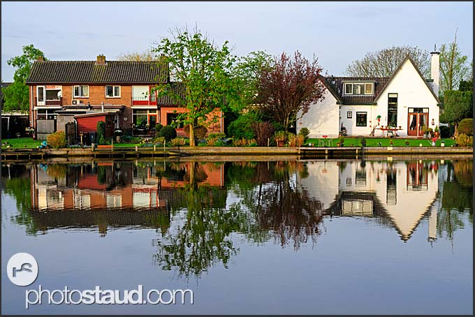 Dutch houses at Vecht river, Vreeland, The Netherlands, Europe