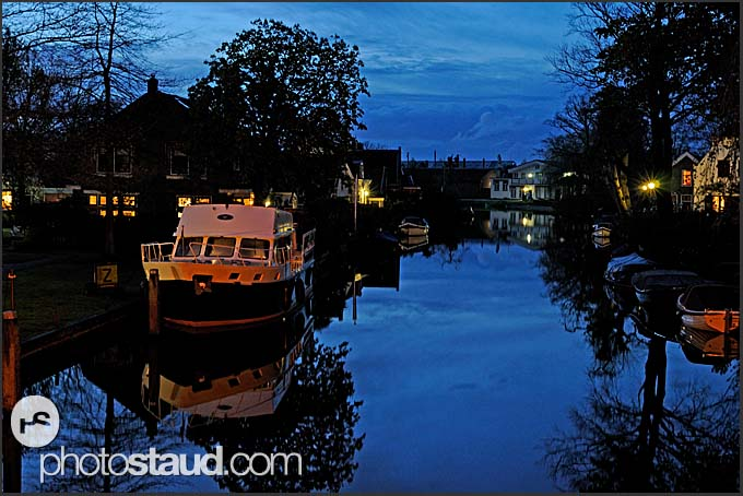 Yacht at Vecht river at night, Vreeland, The Netherlands, Europe