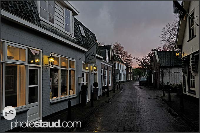 Ordinary streets of Vreeland town at night, The Netherlands, Europe