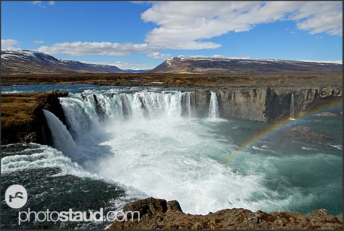 Landscape of Iceland, Rainbow over Godafoss waterfall, Iceland