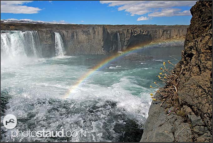 Landscape of Iceland, Rainbow over Godafoss waterfall, Iceland