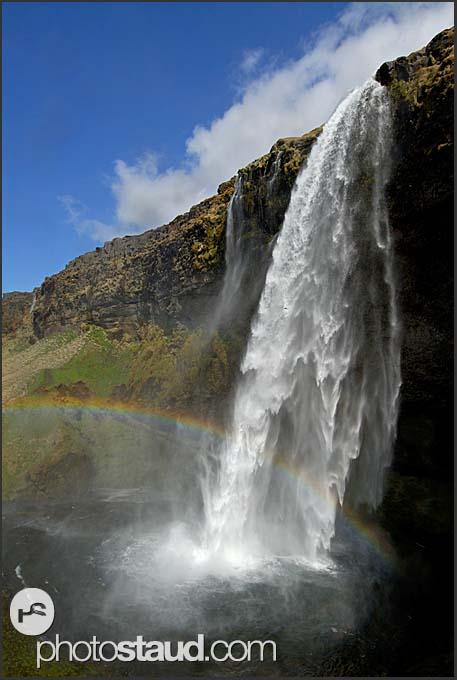 Landscape of Iceland, Rainbow over Seljalandsfoss waterfall, Iceland