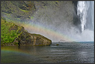 Landscape of Iceland, double rainbow over Skogafoss waterfall, Iceland
