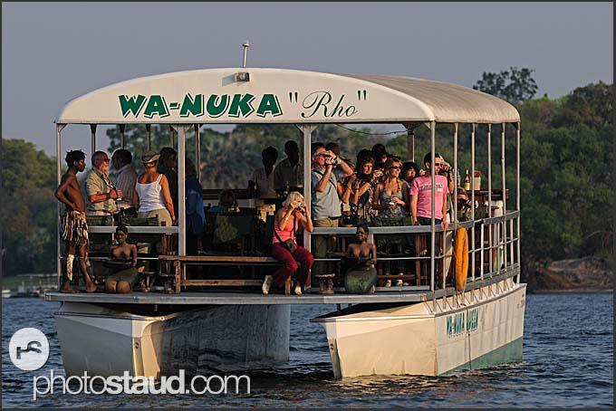Tourist boat on Zambezi River, Mosi-oa-Tunya National Park, Zambia