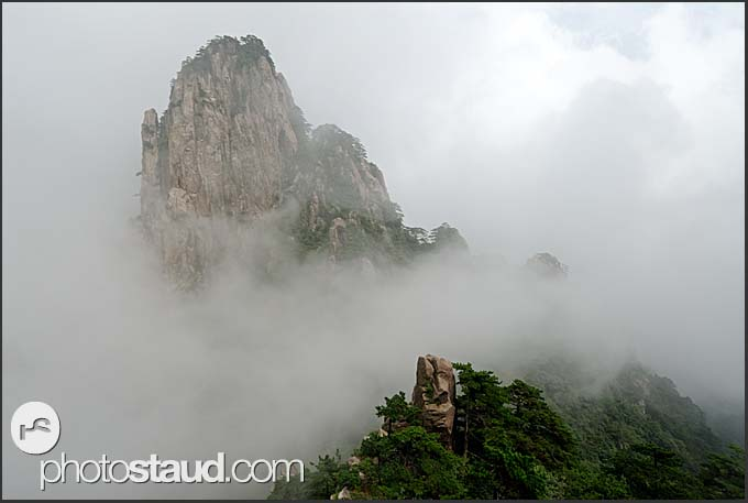 Rocks and clouds in the landscape of the Yellow Mountains, Huangshan, Anhui, China