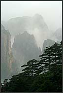 Rocks and fog in the landscape of the Yellow Mountains, Huangshan, Anhui, China