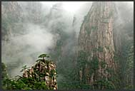 Rocks, pines and mist in the landscape of the Yellow Mountains, Huangshan, Anhui, China