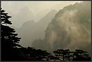 Clouds rolling over the hills of the Yellow Mountains, Huangshan, Anhui, China