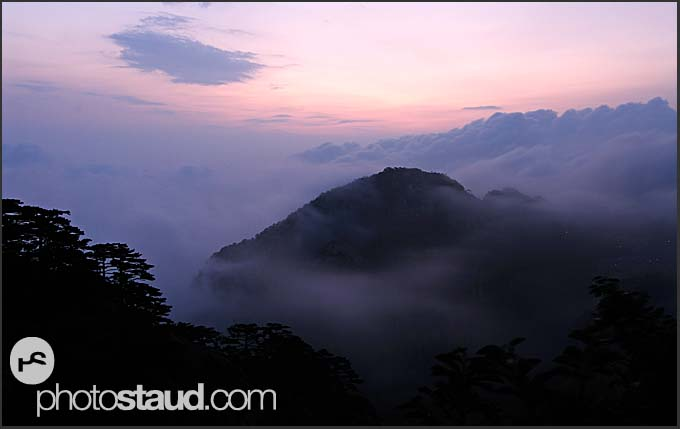 Sunset over the Sea of Clouds, Yellow Mountains, Huangshan, Anhui, China