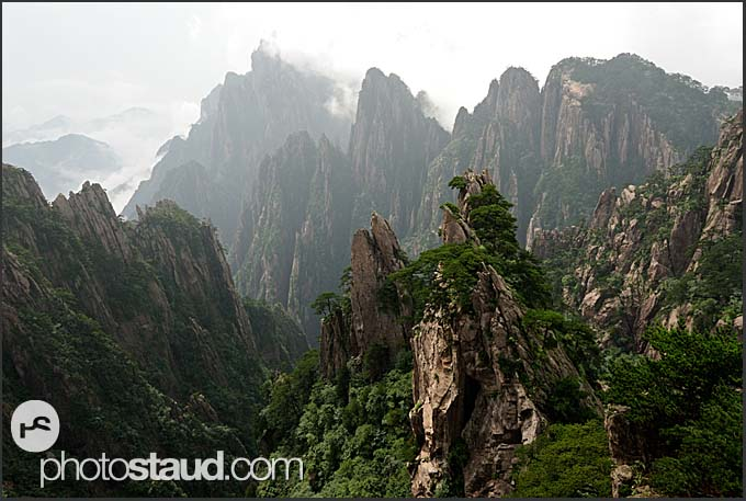 Rugged peaks of the Yellow Mountains, Huangshan, Anhui, China
