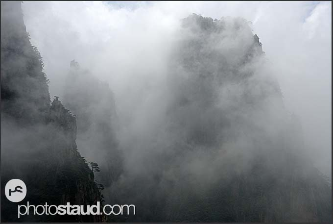 Hazy landscape of the Yellow Mountains, Huangshan, Anhui, China
