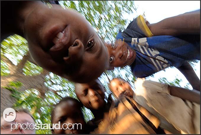 Children looking down, Zambia