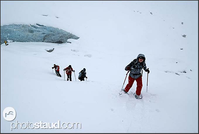 Snow-shoe expedition to the Zinal Glacier, Switzerland, Europe